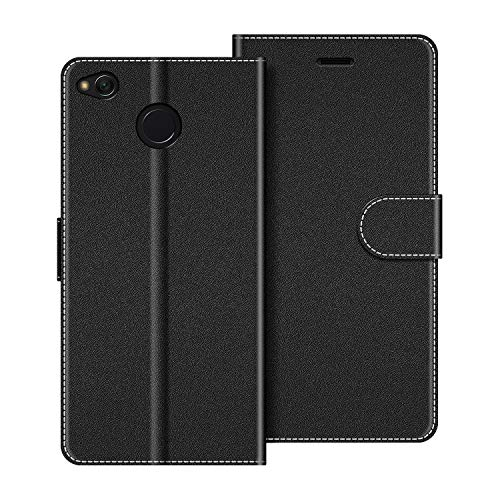 COODIO Funda Xiaomi Redmi 4X con Tapa, Funda Movil Xiaomi Redmi 4X, Funda Libro Xiaomi Redmi 4X Carcasa Magnético Funda para Xiaomi Redmi 4X, Negro