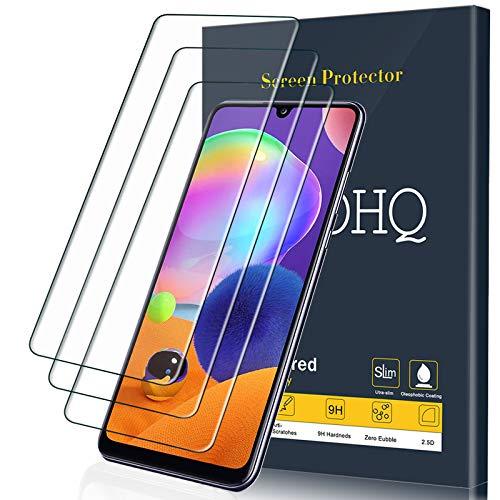 QHOHQ Schutzfolie für Samsung Galaxy A31, [3 Stück] Panzerglas Membran, 9H Festigkeit - Blasenfrei - Anti-Fingerabdruck - Anti-Kratz