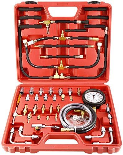 FreeTec 70tlg Benzindruckprüfer Set 0-10 Bar für Auto/PKW Kraftstoff Drucktester Kompression Messer KFZ Werkzeug