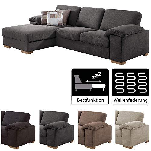CAVADORE Ventere Ecksofa mit Longchair links / Graue Schlafcouch im modernen Design mit Bettfunktion / 277 x 86 x 172  / Grau