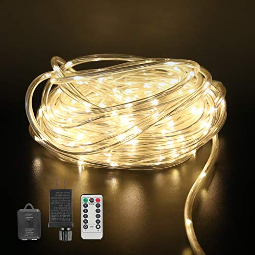 LED Rope Lights,8 Mode,50ft 200 LED,Warm White,Waterproof,Low Voltage,Indoor Outdoor Plug in Light Rope and String for Deck,Patio,Pool,Camping,Bedroom,Boat,Landscape Lighting and More