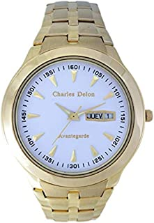 Charles Delon Men's Quartz Watch, Analog Display and Solid Stainless Steel Strap 5247 GGWD