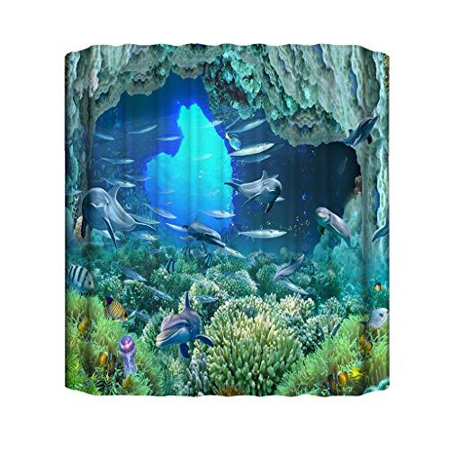 Xmiral Duschvorhänge Unterwasserwelt 3D Gedruckte BadewanneVorhang Badezimmervorhang 180cmx180cm(BA)