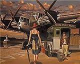 Pintura por Números para Adultos, Pareja de equipaje de avión Bricolaje Lienzo Preimpreso Pintura al óleo Arte Decoración del Hogar Reducir la Ansiedad 40x50cm (Sin Marco)