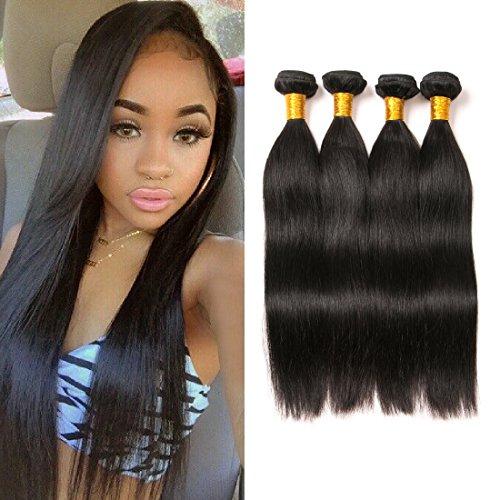 Brazilian Straight Hair Bundle Straight Natural Weave Virgin Straight Hair 4 Bundles Meche Straight Silky Human Hair Tissage Brésilien Bouclés Wave Bl