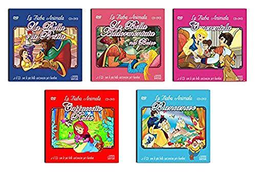 5 CD + DVD Canzoncine e Fiabe Per Bambini, La Bella e La Bestia, La Bella Addormentata Nel Bosco, Cenerentola, Cappuccetto Rosso, Biancaneve ( NO Cartoni Walt Disney ) Offerta