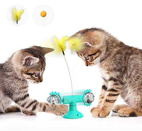 Kaiyingxin Windmühle, Spielzeug für Katzen mit Saugnapf-Basis, interaktives Spielzeug für Windmühle, interaktives Spielzeug mit Drehkugel mit Katnip und Glöckchen, Spielzeug für Katzen