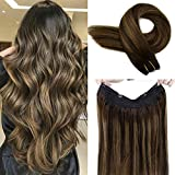LaaVoo 14' Balayage Secret Halo Human Hair Extensions Highlighted Darkest Brown to Light Brown and Dark Brown Halo Human Hair No Clip No Gule 11inch Width 80g