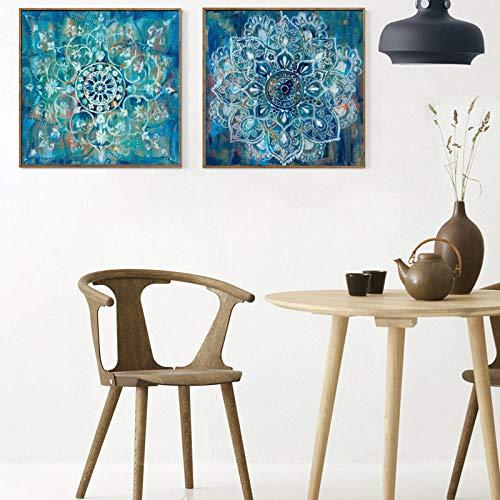 Abstracte kunst posters en prints muurkunst canvas schilderij klassieke baksteen tekening met mandala bloemen voor de woonkamer 40x40cm X2P niet ingelijst