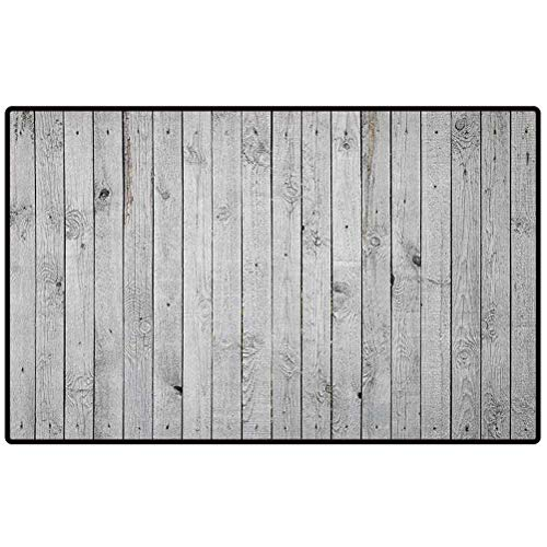 Grey and White Decor Mat Rugs 47x35 Vertical Lined Wooden Board Background Black and White Tone Vintage Planks Picture Door Mat Large Shoe Scraper Pet Mat