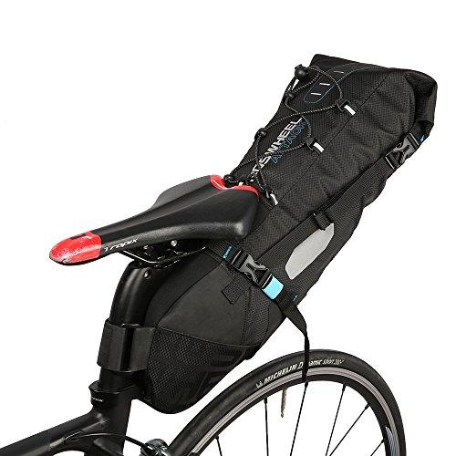 Roshweel Fietszadeltas van nylon met 10 liter inhoud, tas voor onder de achterbank met oprolbare opening en reflecterend logo voor outdoor sport, fietsen, mountainbike