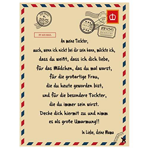 Briefe Decke, personalisierte Liebesbrief Flanell Decke An Meine Tochter von Mama besondere Anlässe Geschenk, Winter warme Soft Mail Decke, Positive Ermutigung und Liebe Bett wirft (150 x 200 cm)
