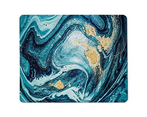 Yeuss Swirl texturen Rechthoekige anti-slip Mousepad Abstract maritieme kunst. Natuurlijke marmeren textuur.Zeer mooie blauwe verf met de toevoeging van goud poeder Gaming muismat 200mm x 240mm
