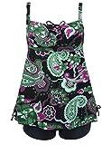 Septangle Women's Plus Size Bathing Suits Paisley Print Two Piece Swimsuit (US 18, Black&Green Floral)