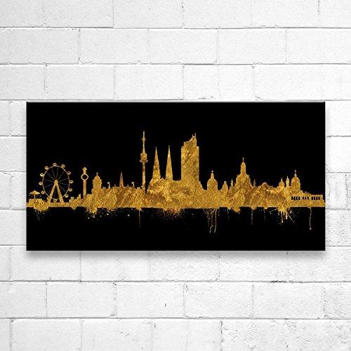 Wien Skyline Stadt Gold by DiChyk (div. Größen) - Kunst Druck auf Leinwand - Bild fertig auf Keilrahmen ! Graffiti Like Banksy Art Gemälde Kunstdru (50x100cm)