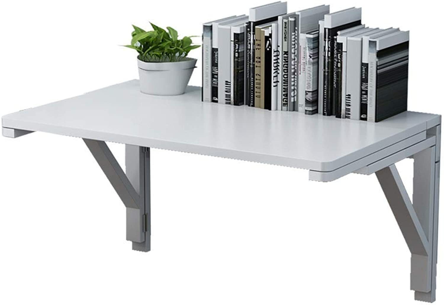 Qing MEI Wall-Mounted Solid Wood Folding Table Double Bracket Wall Table Wall-Mounted Desk White (Size  60x40cm) (Size   50x30cm)