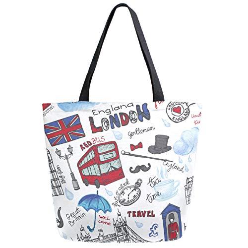 ZzWwR Stilvolle Schultertasche mit Londoner Landmark England Vntage Icons groß Canvas Schultertasche Top Griff Tasche für Fitnessstudio, Strand, Reisen, Einkaufen
