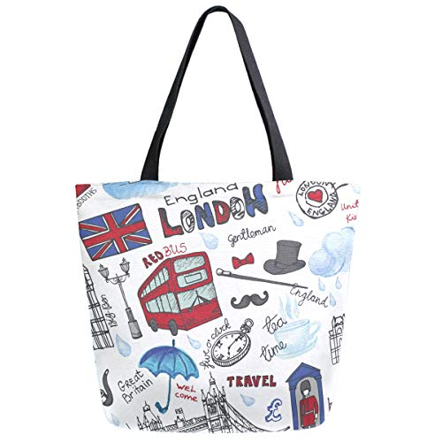 ZzWwR Stylish London Landmark England Vntage Icons Large Canvas Shoulder Tote Top Handle Bag for Gym Beach Travel Shopping