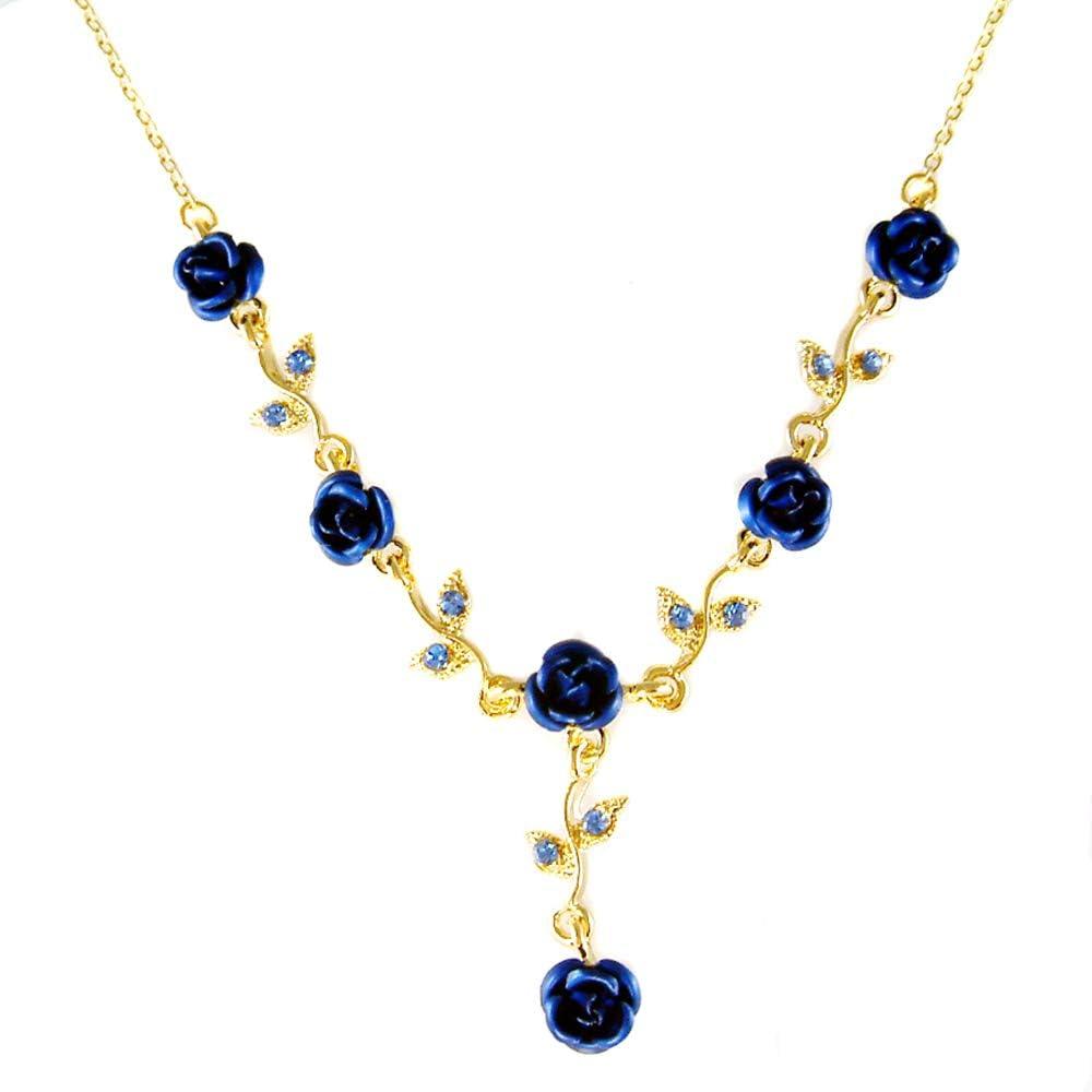 Women's Fashion Royal Blue Austrian Crystal Metal Rose Gold Tone Link Flower Necklace, 15