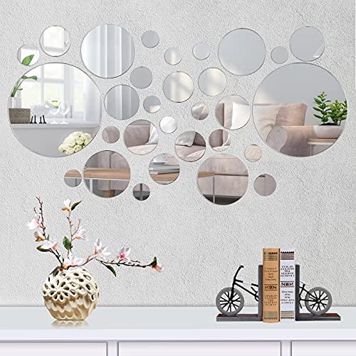 Dereine Spiegel Wandaufkleber, Spiegelfliesen, Runde Kreis Spiegel Einstellung Wand Aufkleber, 30 Stück, Silber, Kommt in 5 Größen, DIY Dekorative, für Badezimmer, Küche, Wohnzimmer, Büro