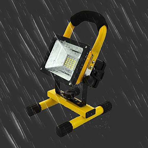 Temgin Faro LED Esterno Impermeabile 30W 2400LM Faretto IP65 Illuminazione ricaricabile Batteria inclusa Bianco freddo per officina Casa Ristrutturazione Giardino Campeggio Garage o Campi Esterni