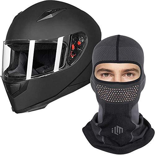 ILM Full Face Motorcycle Street Bike Helmet DOT (M, Matte Black) and Breathable Face Mask Balaclava Bundle