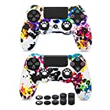 6amlifestyle PS4 Controller Skins, Silicone Covers for DualShock 4 - Anti-Slip Protector Case Set for Sony PS4, PS4 Slim, PS4 Pro 2 PS4 Controller Skins with Pro Thumb Grips x 10