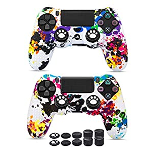 6amLifestyle PS4 Controller Skin (Graffiti 2 Controller Skins + 10 Thumb Grips) Anti-Slip Silicone Cover Protector Case for DualShock 4 PS4 / PS4 Slim / PS4 Pro Controller