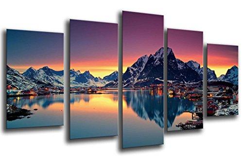 Cuadro Fotografico Paisaje Lago Moskenes Atardecer, Noruega Tamano total: 165 x 62 cm XXL