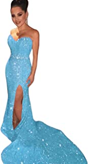 Sweetheart Sequins Formal Long Evening Dresses 2019 Mermaid Prom Gowns Luxury Peplum
