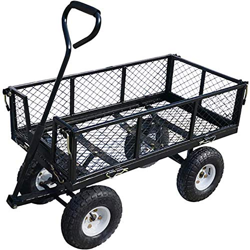 QXTT Utility Pull Wagon Carrello Pieghevole Grande capacità Rimovibile E 4 Ruote per Barbecue Giardinaggio Shopping Campeggio Outdoor Sportive