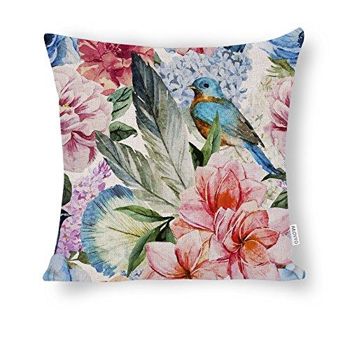 AILOVYO Linge de Coton Floral et Oiseau Coloré Couvre-Lit Décoratif Taie d'oreiller Housse de Coussin pour canapé Décor 45,7 x 45,7 cm 18 x 18 inches Couleur 1