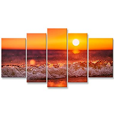 Canvas Wall Art Paintings Home Decor Sunset Sea Wave Water Spray Picture 5 Pieces Modern Giclee Framed Artwork The Pictures Living Room Decoration Beach Waves Seascape Photo Prints On Canvas