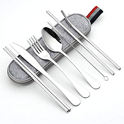 DZRZVD Portable Utensils Travel Camping Cutlery Set 8-Piece including Knife Fork Spoon Chopsticks Cleaning Brush Straws Portable Case Stainless Steel Flatware set (8-piece Silver)