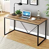 FOLUBAN Rustic Industrial Computer Desk,Wood and Metal Writing Desk, Vintage PC Table for Home Office, Oak 55 inch
