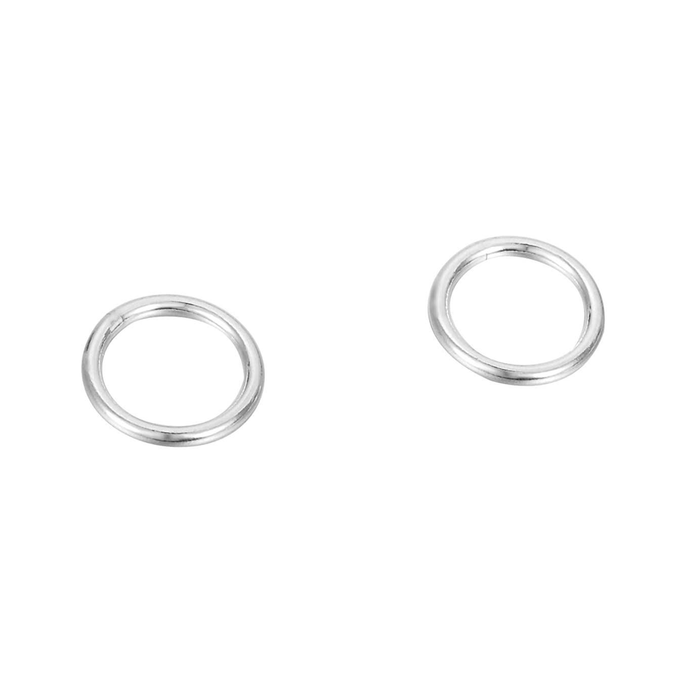 HooAMI 925 Sterling Silver Closed Jump Rings 8mm Pack of 10pcs