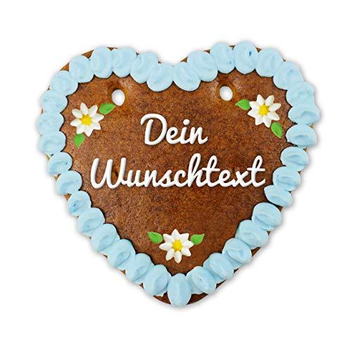 Lebkuchenherz personalisiert mit Text -mit bayerischem Edelweiß-Design - jetzt ganz einfach Wunschtext hochladen und ein ganz eigenes Herz wie von der Wiesn oder Oktoberfest erhalten