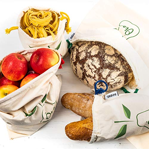 Wiederverwendbare Brot- & Gemüsetasche aus Baumwolle 4er Set & gratis SAISONKALENDER - ökologische Einkaufstasche bzw. Tragetasche! Jetzt umweltfreundlich & nachhaltig einkaufen…