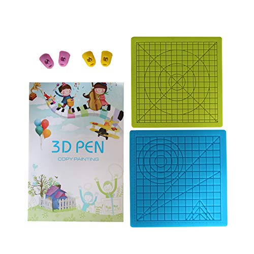 LIHUACHEN 3D Pen Mat Silicone 2 Set with 3D Drawing Templates a Book Accessories,and 4 Finger Protectors