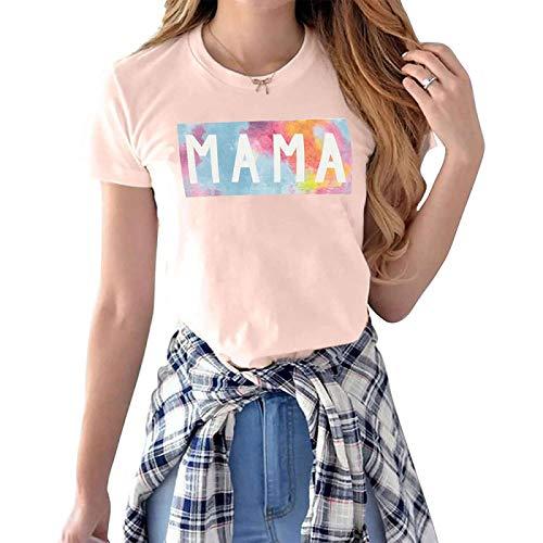 DREAMING-Camiseta de Manga Corta Informal para Primavera y Verano para Mujer M