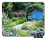 blaues Gartenhaus Mouse Pad, Mousepad (Blumen Mouse Pad)
