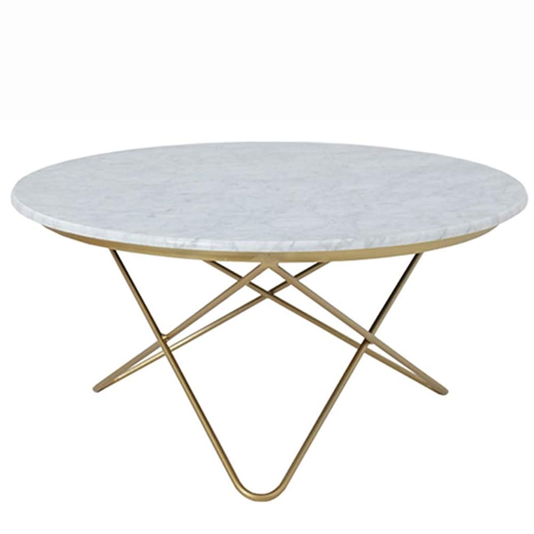 吸収フローティング汚物GWDJ サイドテーブル、シンプルな大理石ラウンドアイアンアートサイドテーブル多機能モダンリビングルームソファーサイドテーブルバルコニーシンプルなペイントコーヒーテーブル コーナーテーブル (色 : White+gold, サイズ さいず : 80*40cm)