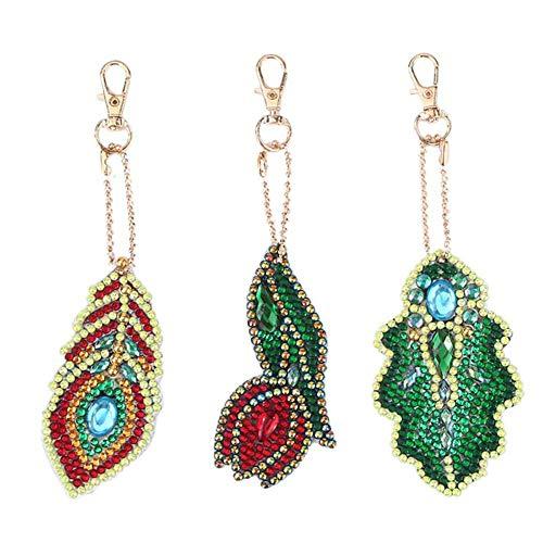 Jestang Diamant-Malerei-Set zum Selbermachen mit Schlüsselanhänger, Mosaik-Zeichnung, dekorative Requisiten für Taschen, Handy-Gurt, Rosenblätter, 3 Stück