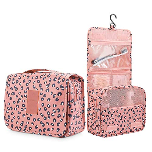 HOMPO Oxford Cloth Hanging Wash Bag with Hook Make Up Cosmetics Bag Case Toiletry Organizer Storage(Pink)