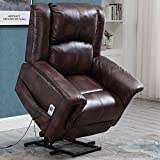 Esright Power Lift Chair Electric Recliner for Elderly Faux Leather Heated Vibration Massage with Remote Control, Brown