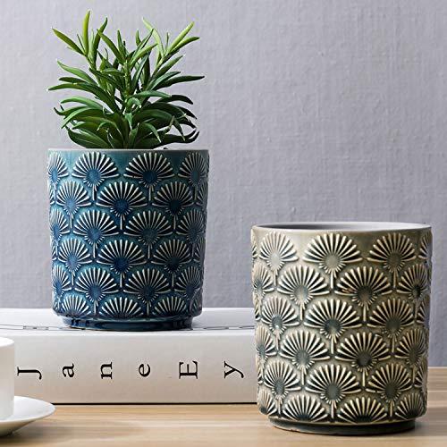 MyGift - Macetas para suculentas en relieve, color azul y gris claro