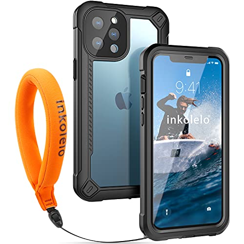 inkolelo Waterproof case for iPhone 12 Pro Max, Built-in Screen Full-Body Protector with Floating Strap Anti-Drop for 12 Pro Max 6.7 inch IP68 Level Waterproof Black/Orange