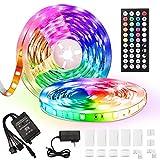 BRTLX 50ft Led Strip Lights, 5050 RGB Color Changing LED Light Strips Kit with 44 Keys Ir Remote Led Lights for Bedroom, Kitchen, Home Decoration