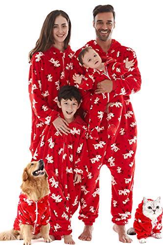 HORSE SECRET Pijama Hombre Mujer, Pijama en Tejido Franela Polar Suave y cómodo para Toda la Familia, excelente para Invierno, Rojo Navidad - Perro & Gato, L