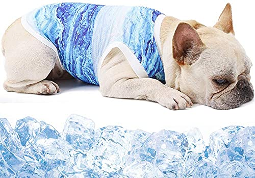 Naokenu Kühlendes Hundegeschirr – Haustier-Entlastung gegen Angst, Sonnenschutz Hunde-Shirt, weich, leicht, Netzstoff, atmungsaktiver Mantel für Hunde (blau-2XL)